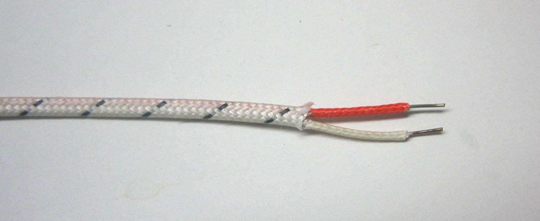 J-type Thermocouple Wire AWG 24 solid w. Braided Fiberglass Insulation - 10 yard