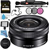 Sony E PZ 16-50mm f/3.5-5.6 OSS Lens SELP1650 + 40.5mm 3 Piece Filter Kit + Professional 160 LED Video Light Studio Series + 64GB SDXC Card + Lens Pen Cleaner + 70in Monopod Bundle