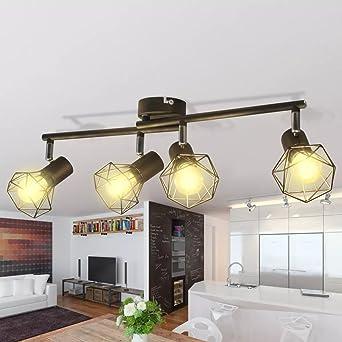 Salón Lámpara Techo Foco la Industria estilo de alambre estructura + 4 – Bombillas LED Negro