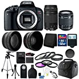 Canon EOS Rebel T7i 24.2MP Digital SLR Wifi Enabled Camera Black with EF-S 18-55 IS STM and EF 75-300mm Lenses + 32GB Top Accessory Bundle For Sale