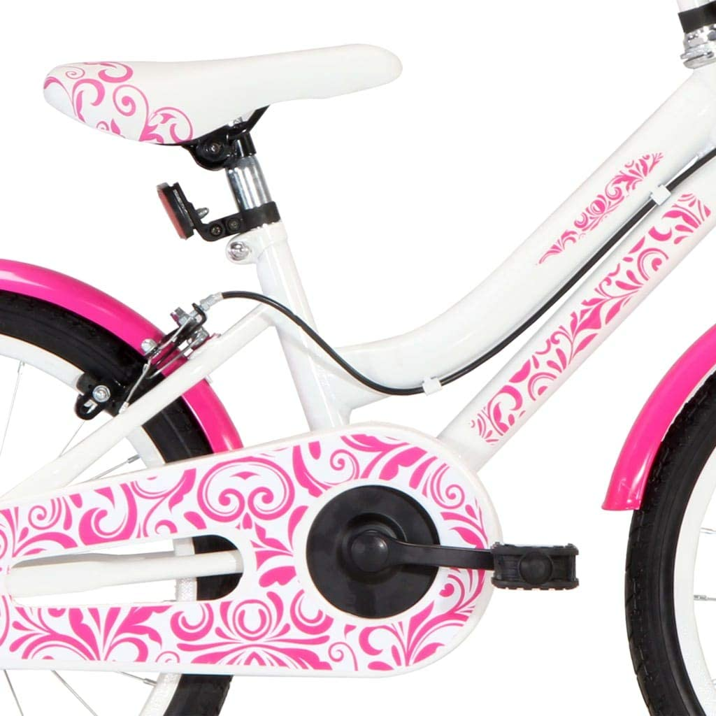 vidaXL Kinderfahrrad mit seitlichem St/änder H/öhenverstellbarer Lenker M/ädchenfahrrad Kinderrad Fahrrad f/ür Kinder M/ädchen 18 Zoll Rosa Wei/ß