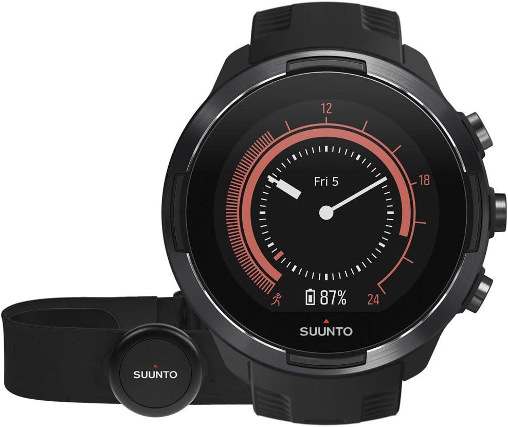 Suunto 9 Baro Reloj Multideporte GPS con cinturón de frecuencia cardíaca, Unisex Adulto, Negro, 24.5 cm