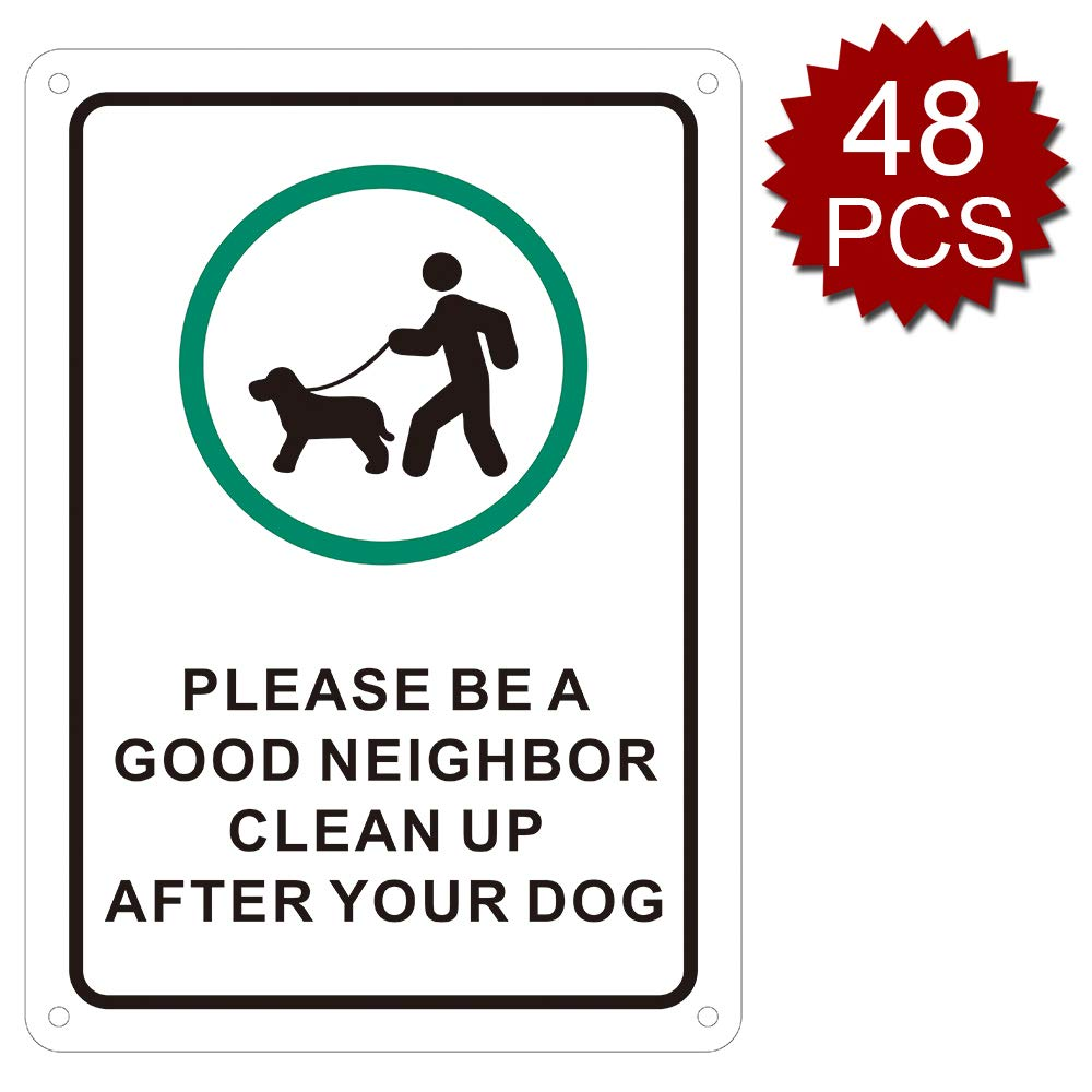 Black Green 48pcs 10\ Black Green 48pcs 10\ aspire Premium Aluminum Please Be A Good Neighbor Clean Up After Your Dog Sign, Easy to Mount-Black Green 48pcs-10 W x 14  L