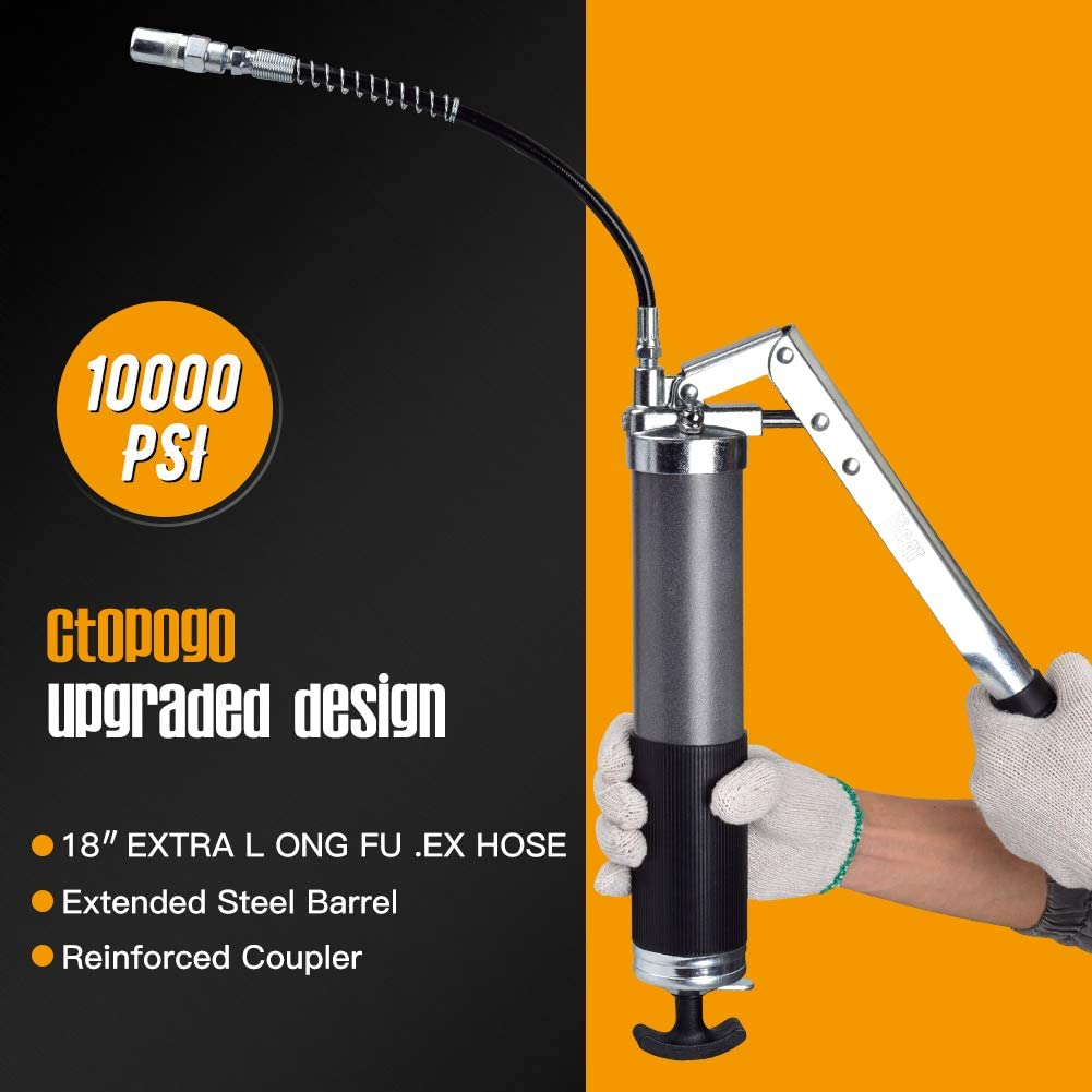 starrem Verl/ängerungsrohr und scharfer D/üse CtopoGo Hochleistungs Fettpresse Set mit Flex-Federschlauch Arbeitskupplung
