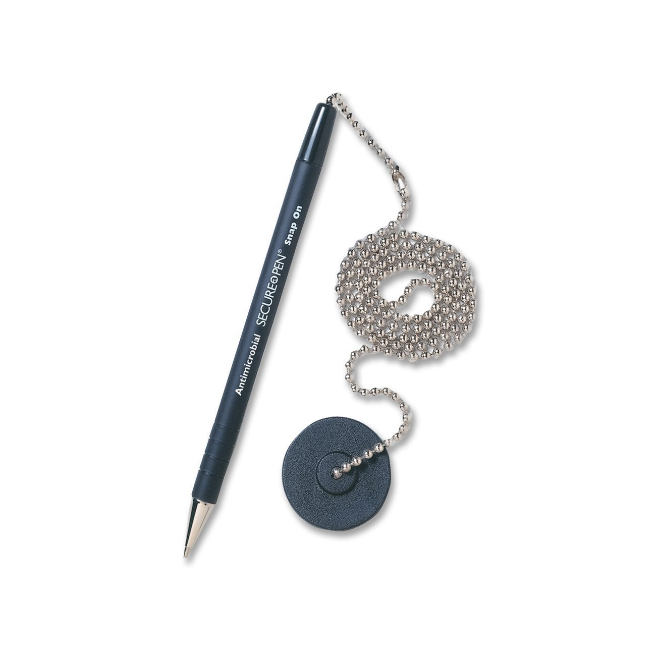 MMF Industries Secure-A-Pen Antimicrobial Counter Pen with Adhesive Base, Medium Point, Black Pen with Black Ink (28904)