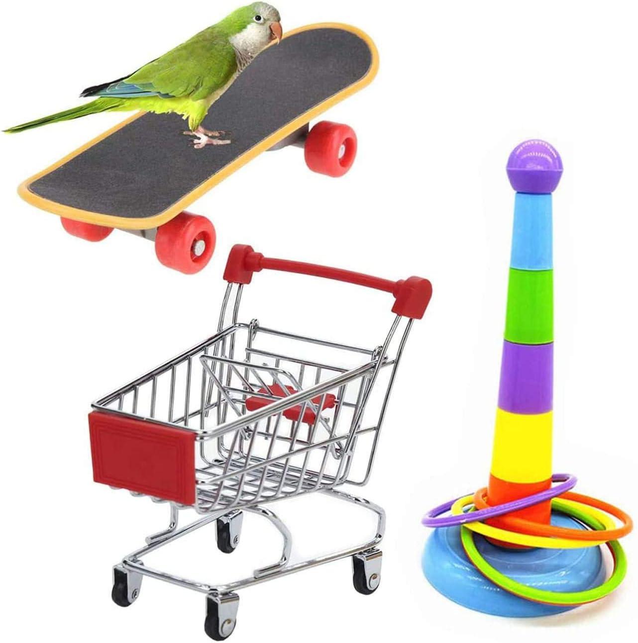 Wonninek 3 Piezas Parrot Toys Mini Carrito de Compras Anillos de Entrenamiento Soporte para patineta Perca Comida para Loros, guacamayos, cotorras, periquitos, y cacatúas