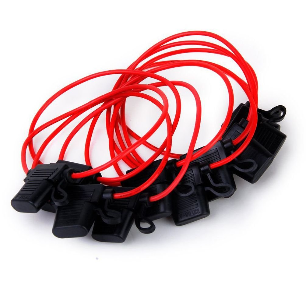10Pcs 40A In-Line Blade Small Fe Holder For Car Boat Truck Auto 12 Awg Cable