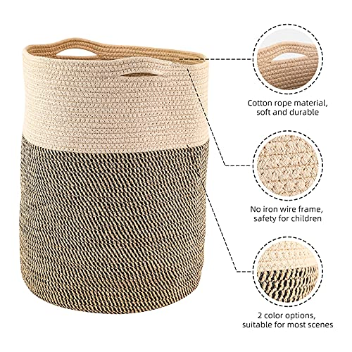 Geamensi 62L Laundry Hamper Cotton Rope Woven Laundry Basket Collapsible Frees Tending Storage for Clothes, Blankets, Toys (Brown)