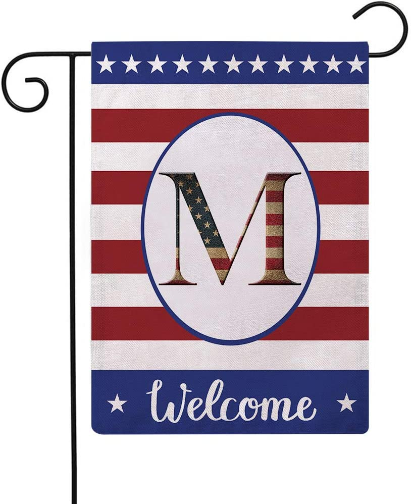 Patriotic Decorative Flag Initial Letter Garden Flags with Monogram M Double Sided American Independence Day Flag Welcome Burlap Garden Flags 12.5×18 Inch for House Yard Patio Outdoor Decor(M)