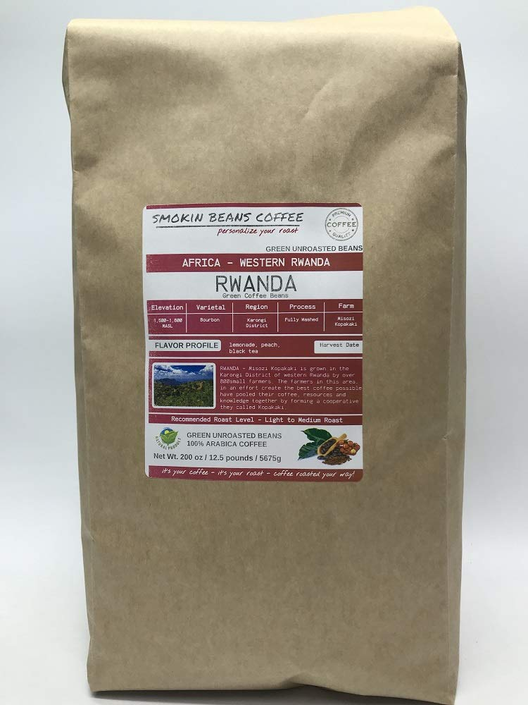 12.5 Pounds - Southern Africa - Rwanda - Unroasted Arabica Green Coffee Beans - Grown In Karongi District - Altitude 1500-1800 M - Bourbon - Drying/Milling Process Is Fully Washed by Smokin Beans
