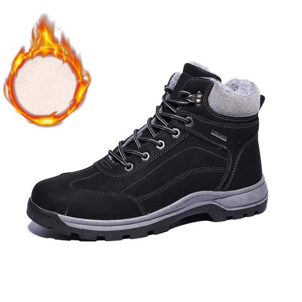 Hy Herren Wanderschuhe, Winter Plus Cashmere warme Winddichte Schnee Stiefel Stiefel, Slip-Ons Trainingsschuhe, Werkzeug Stiefel (Farbe : Schwarz, Größe : 39)