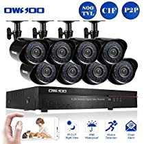 OWSOO 16CH CIF CCTV DVR Security Kit HDMI P2P Cloud Network Digital Video Recorder + 8x 800TVL Outdoor/Indoor Infrared Camera, Support IR-CUT Night Vision Weatherproof Plug and Play