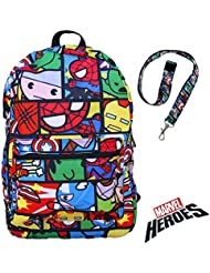 Marvel Heroes Kawaii Avengers Backpack with Lanyard Keychain Charm