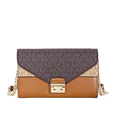 134e3b98477 Amazon.com  Michael Kors Sloan Large Leather Chain Wallet- Brown Acorn True  Green  Shoes