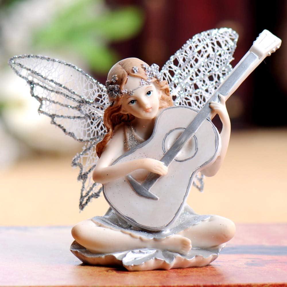 Plateado Flor Figurita De Hadas, Tocando La Guitarra Pequeña ...