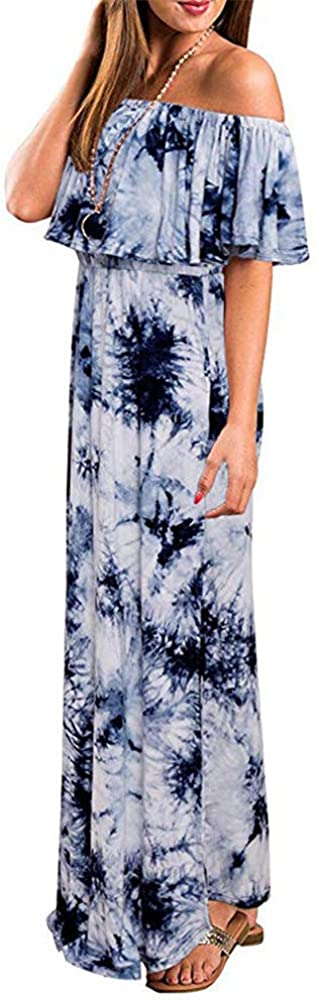 Quealent Womens Off The Shoulder Ruffle Party Dresses Casual Side Split Beach Long Maxi Dress with Pockets