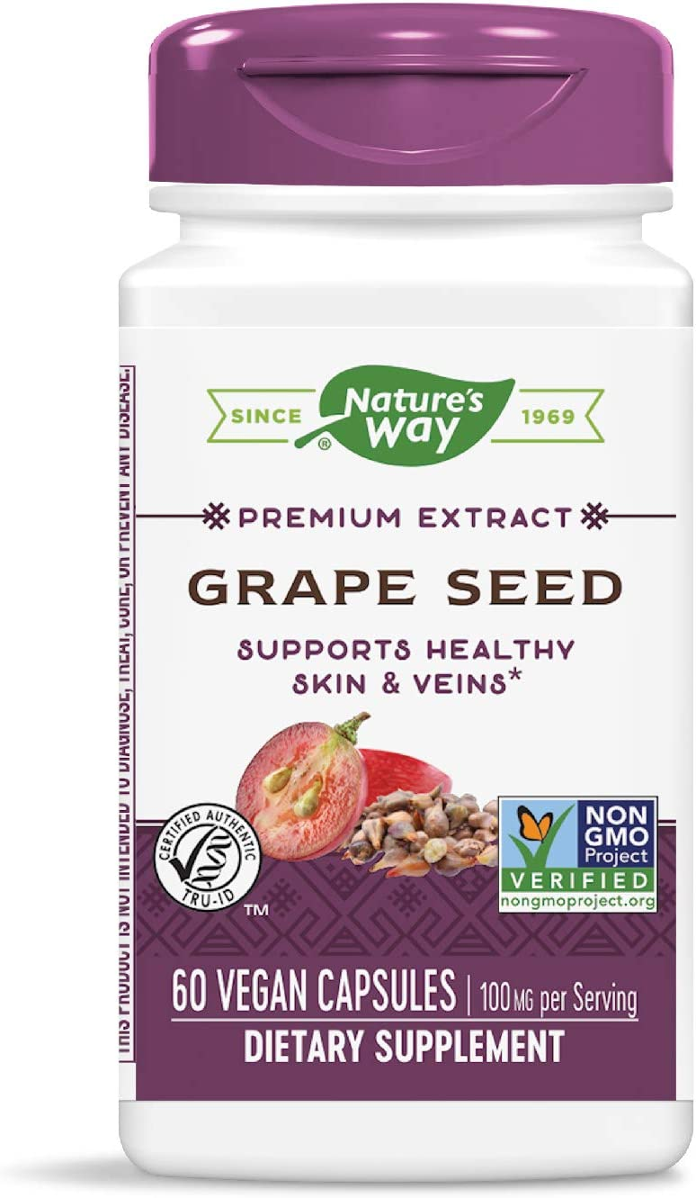 Nature's Way Premium Extract Standardized Grape Seed 95% Polyphenols, 100 mg per serving, 60 Capsules