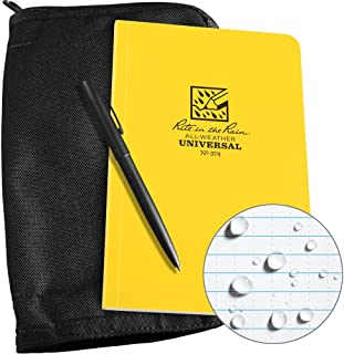 "product image for Rite in the Rain Weatherproof Bound Book Kit: Black CORDURA Fabric, 4 5/8"" x 7 1/4"" Yellow Notebook, and Weatherproof Pen (No. 374B-KIT)"