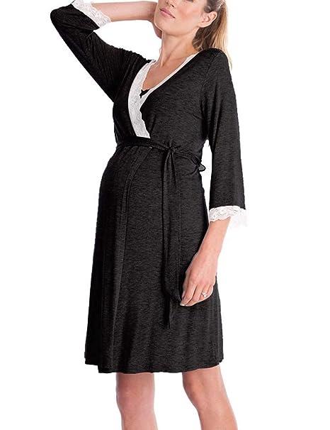 Zhhlaixing Clásico Vestido de Premamá V-Neck Lace Vestido de Lactancia Maternidad 3/4