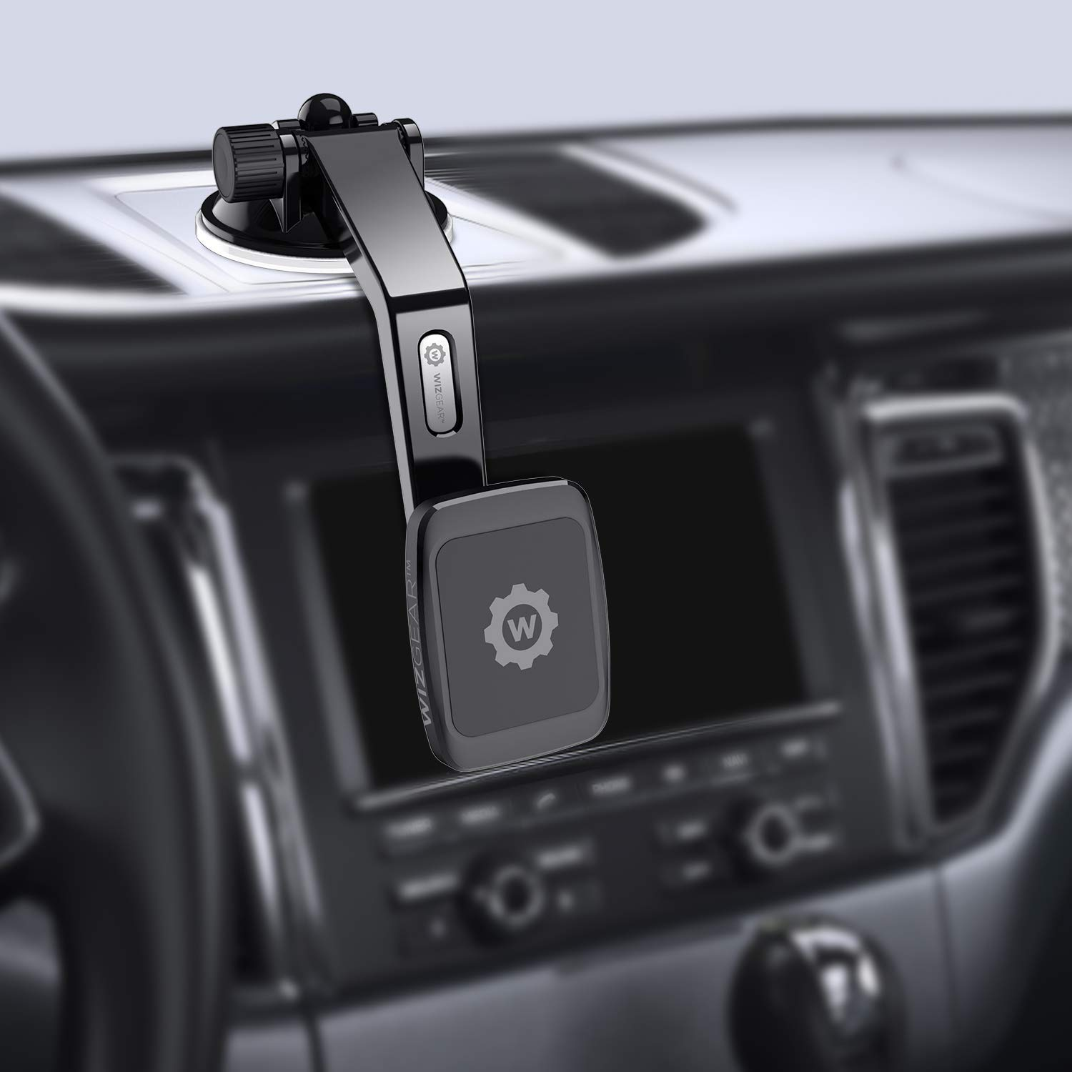 Magnetic Mount Magnetic Cell Phone Mount WizGear Universal Dashboard Curved Magnetic Phone Car Mount Holder for Cell Phones and Mini Tablets with Fast Swift-snap Technology