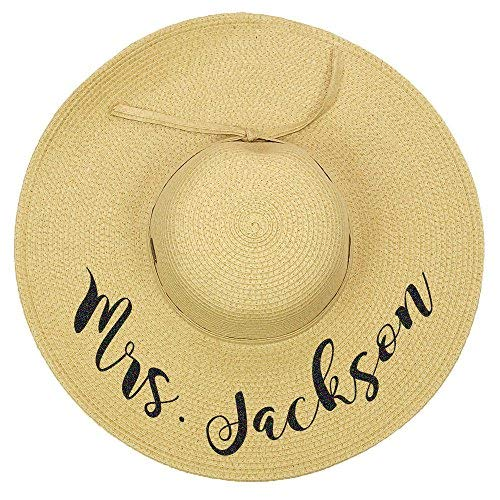 Personalized Mrs. Floppy Sun Hats (Natural)