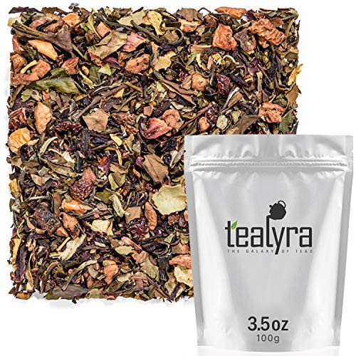 (Tealyra - Spiced White Pear - White Loose Leaf Tea - Hibiscus - Cinnamon - Fruits Blend - Hot or Iced Tea - Antioxidants Rich - Caffeine Low - 100g (3.5-ounce))