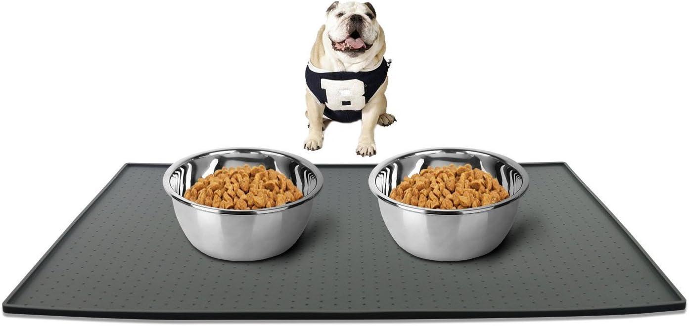Leeko Silicone Waterproof Dog Cat Pet Food Mats Tray, Silicone Waterproof Pet Food Mat, No Mess Pet Food Mat Dog Bowl Placemat