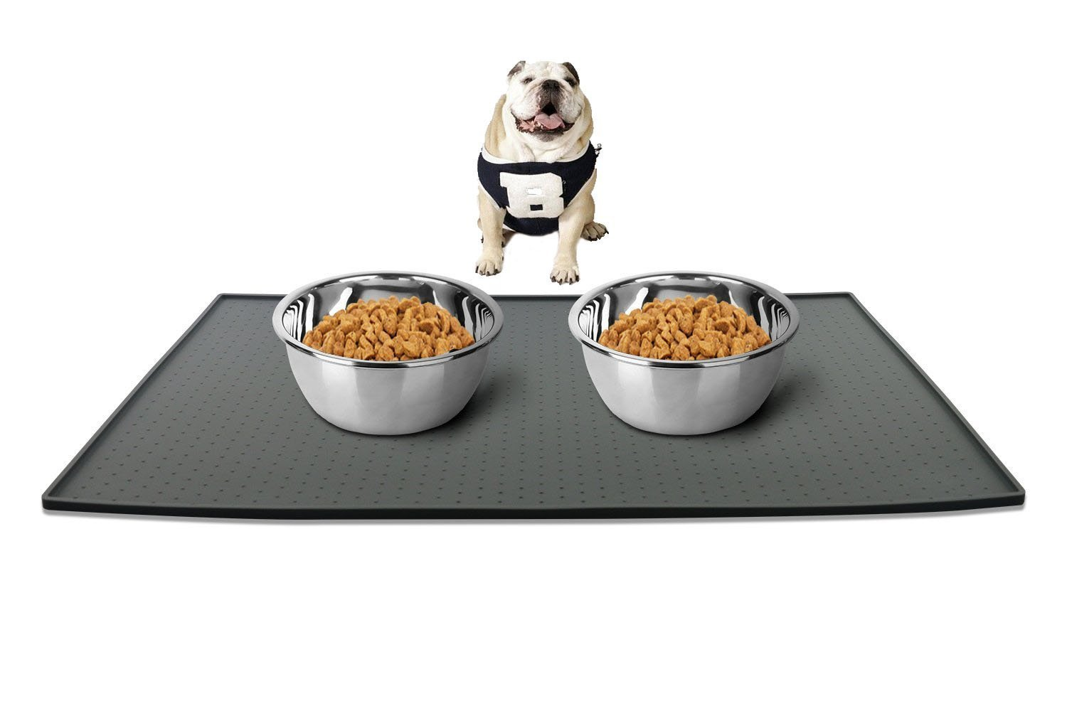 Leeko Large Pet Food Mat,Waterproof Premium FDA Food Grade Silicone Dog Bowl Placemat,Flexible and Easy to Clean Feeding Mat for Cat and Dog,24'' x 16'' x 0.4'' Grey