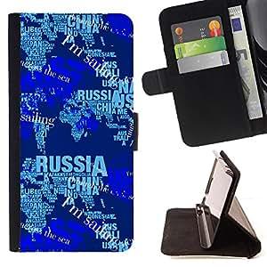 - Blue Russia World Map News - Estilo PU billetera de cuero del soporte del tir???¡¯????n [solapa de cierre] Cubierta- For HTC Desire 820 £¨ Devil Case £©