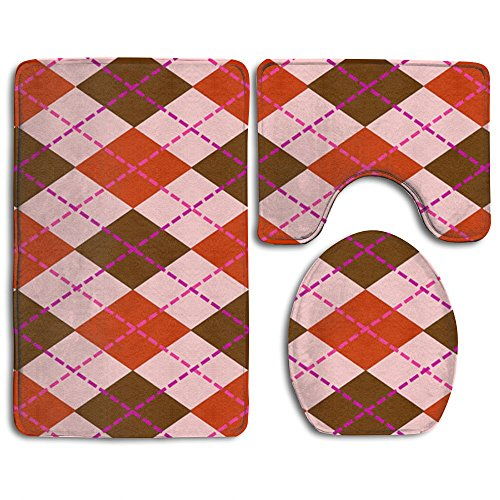 Home Essential Bath Mat Bathroom Non-Slip Pedestal Rug + Lid Toilet Cover + Bath Mat Set Retro Argyle Party Supplies Give Your Family The Best Protection
