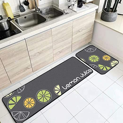 Amazon Com Jifan Kitchen Mat Japanese And Korean Style Simple Carpet Yellow Green Dark Gray Rug Combination Carpet 2 Pieces Runner Rug Set Floor Mat Entryway Rug Bath Rug Size 4060cm 40120cm Home Kitchen