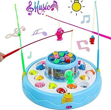 jerryvon Juegos de Mesa de Pesca Musical con Caña de Pescar Doble ...