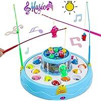 jerryvon Juegos de Mesa de Pesca Musical con Caña de Pescar Doble Capa Brillo Rotate Educativos Juguetes para Niños…