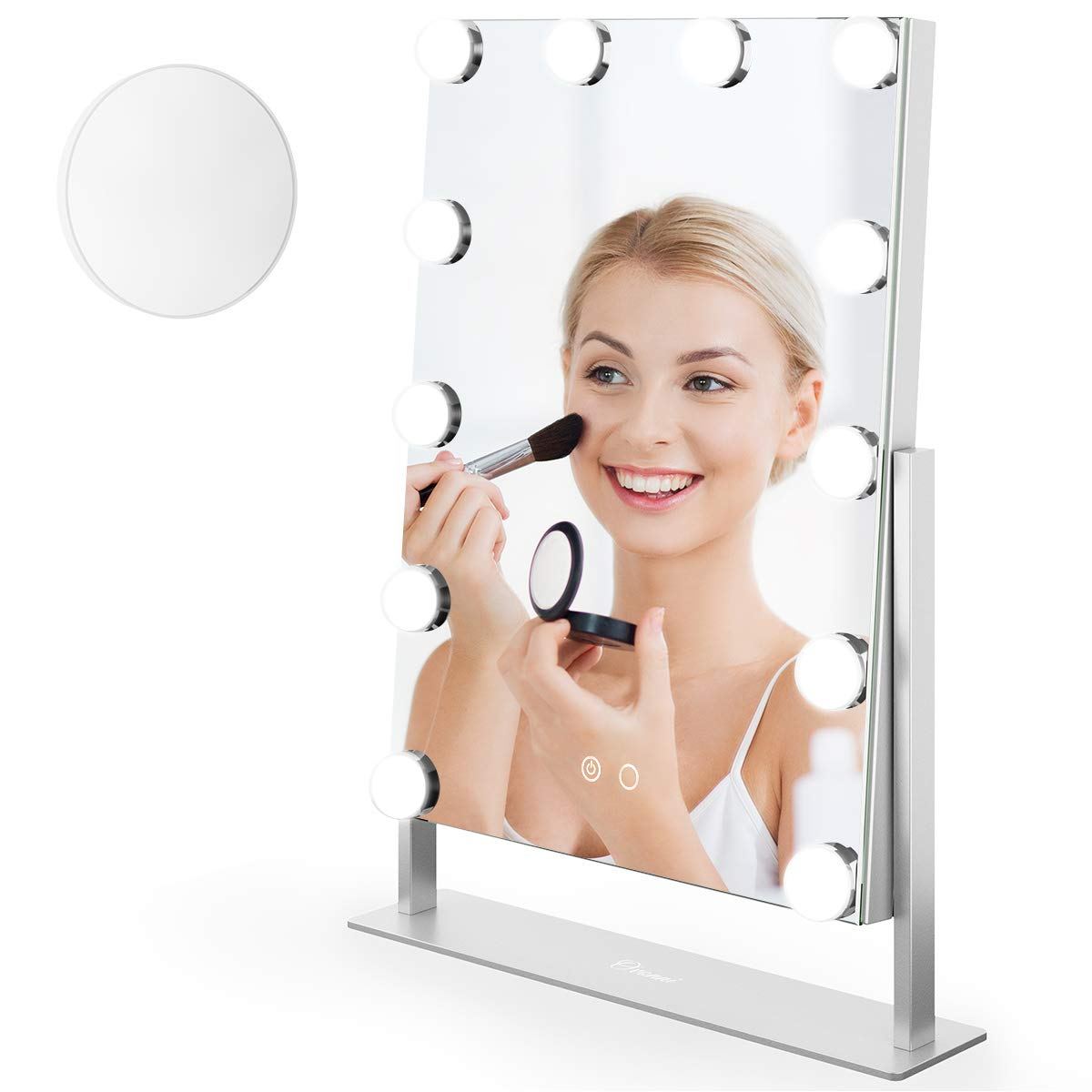 Ovonni Vanity Hollywood Makeup Mirror,10X Magnification Double-sided Dimmable Tabletop Cosmetic Mirror with 12 LED Bulbs,360°Rotating 2 Colors Light Touch Control Memory Mode and Plug Powered, Silver