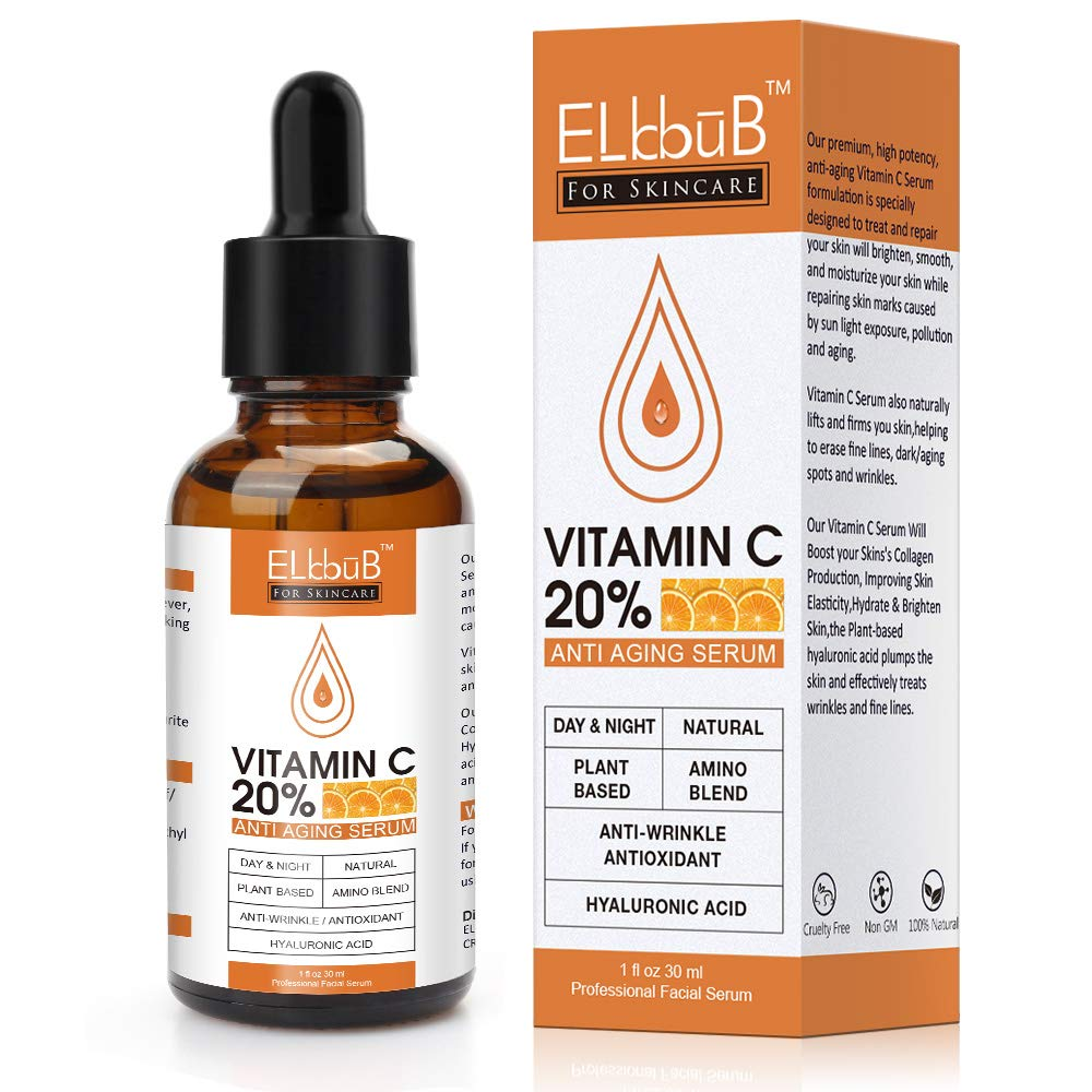 Premium 20% Vitamin C Serum For Face with Hyaluronic Acid, Retinol & Amino Acids - Boost Skin Collagen, Brighten Hydrate & Plump Skin, Anti Aging & Wrinkle Facial Serum