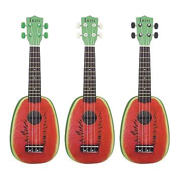 Ukelele, Instrumento Musical Mini Guitarra, 21 Pulgadas 12 Trastes 4 Cuerdas, Ukulele Guitarra Acústica Eléctrica Estilo Sandía Ukelele para Instructor ...