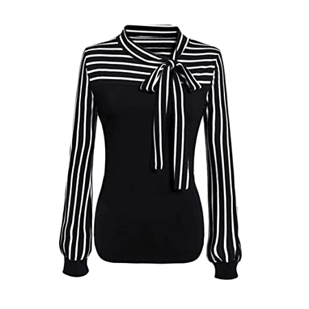 8b83f2566f2296 Damen T-shirt,Honestyi Frau Fliege Hals Gestreift Lange Ärmel Spleißen Hemd  Bluse langarm T-shirt elegant Tops (XXL, Schwarz): Amazon.de:  Musikinstrumente