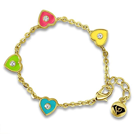 Girls Enamel Charm Bracelets 14k Gold Plated Fashion Jewelry for Girls Heart Bracelets with Crystals