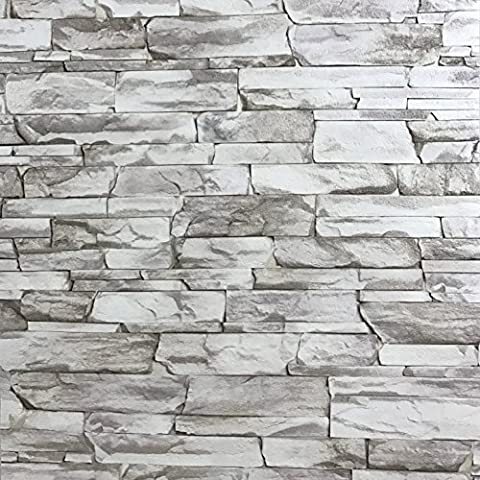 Slavyanski vinyl wallpaper gray white coverings textured vintage retro faux stone brick pattern double roll wallcovering wall paper decal decor textures embossed 3D washable modern living room (Washable Wallpaper)