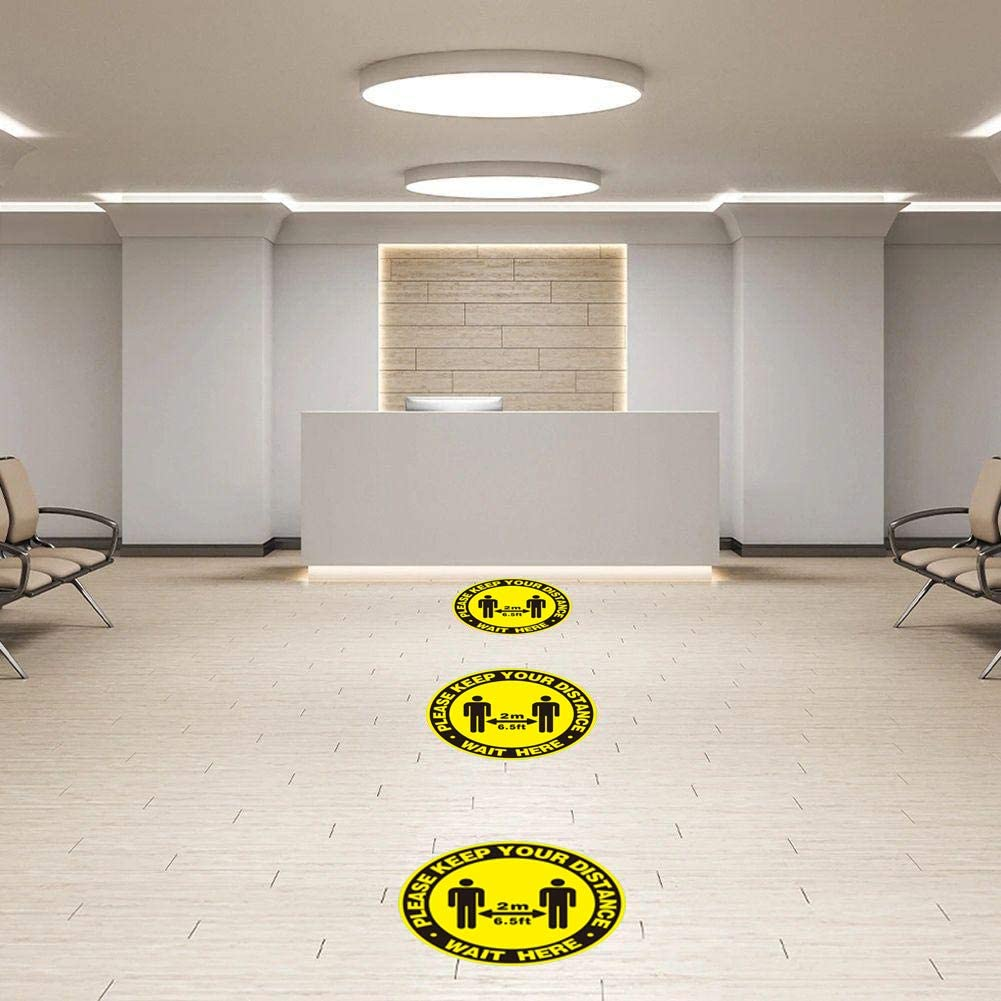 Social Distancing Floor Stickers for Shop Decals Self Adhesive Safety Sign Non Slip and Waterproof Pack of 5