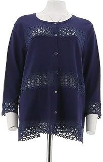Isaac Mizrahi Live Blue Plus Size Open Front Cardigan Sweater Island Breeze