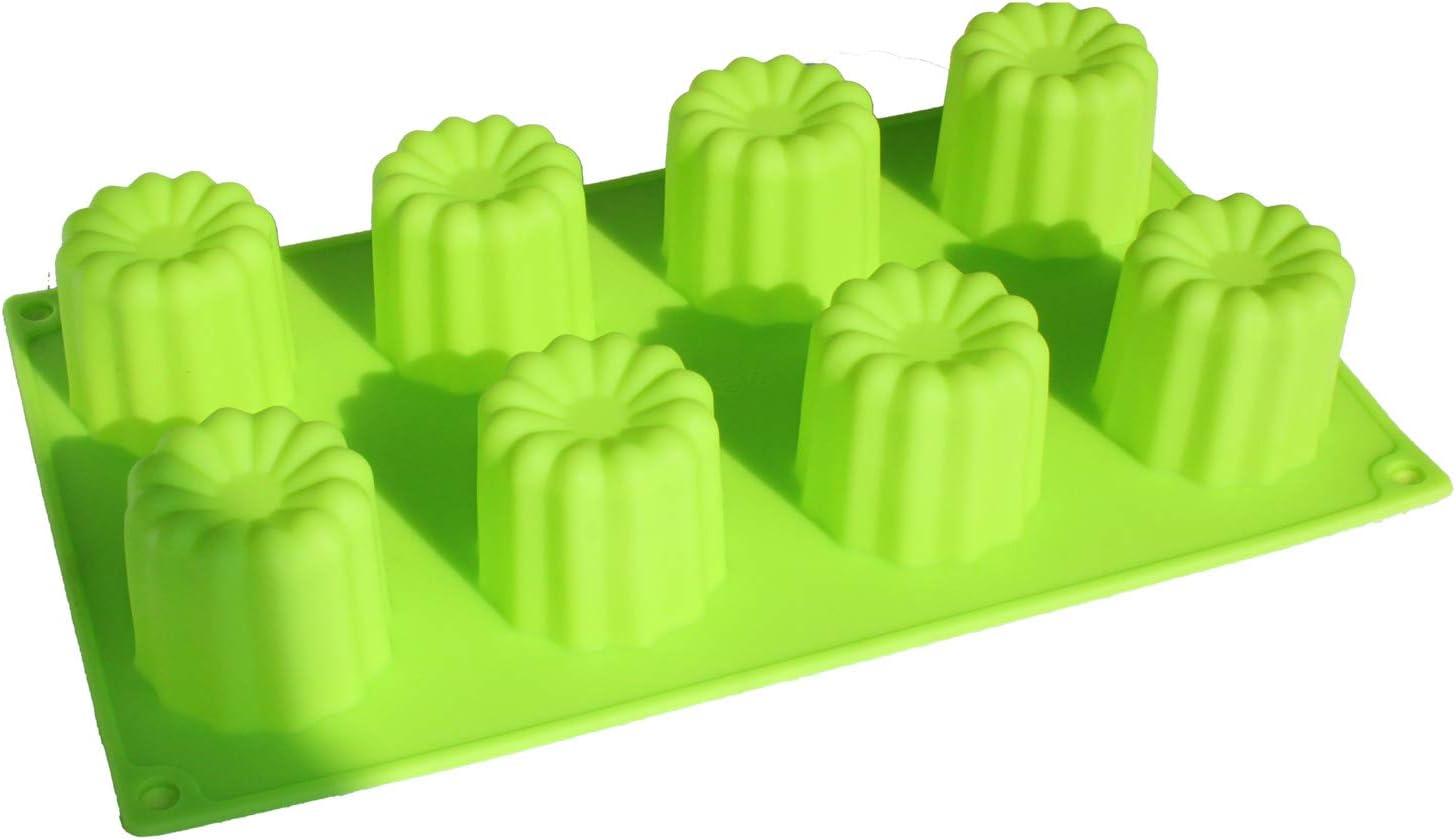 X-Haibei silicona molde para hornear Muffin morosita Cake 8-cavity 2 x 2inch canneles molde