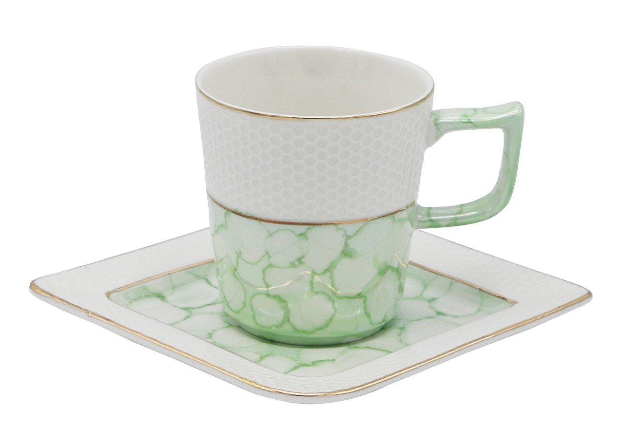 磁器ボーンチャイナエスプレッソトルココーヒーDemitasseのセット6カップ+ Saucers with人工大理石仕上げ Demi-tasse, 3.5 oz, 100 ml グリーン B07CH73LJT グリーン
