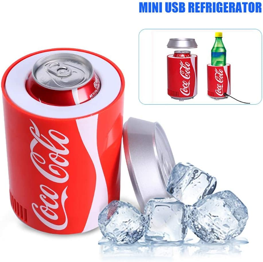 Red White ELEMENTRAL Portable Mini USB Refrigerator Dual-Use Refrigerator Small home micro refrigerator cooler Material PP metal Suitable for Car Office