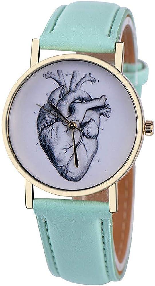 Reloj Mujer Top Marca corazón órgano Impreso Cuero de PU Relojes Mujeres Relojes de Pulsera de Cuarzo Pulseras Entrega Directa
