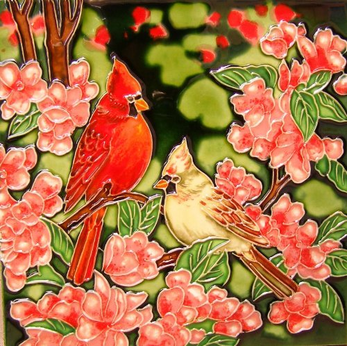 Continental Art Center BD 2245 Cardinals with Pink Flowers Art Tile, 8 by 8-Inch from Continental Art