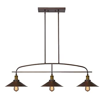 YOBO Lighting Antique Kitchen Island Pendant, 3 Light Metal Ceiling  Chandelier