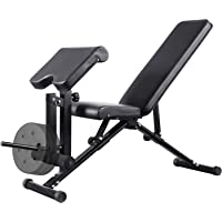 Mikolo Adjustable Weight Bench, Strength Training Foldable Exercise Workout Bench with Preacher Pad, Leg Extension for…