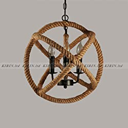 Retro Industrial Hemp Rope Globe Pendant Light Fixture 17 Inch 3-Light Rustic Country Style Ceiling Chandelier for Kitchen Island, Foyer, Hallway