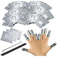 200PCS Remover Foil Wraps del Rimuovere smalto gel per Unghie, Fogli di Alluminio per Rimuovere lo Smalto ,Nail wraps di tamponi di cotone privi di pelucchi riempimento